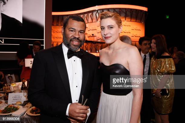 Directors Jordan Peele and Greta Gerwig pose during the 70th Annual Directors Guild Of America Awards at The Beverly Hilton Hotel on February 3 2018...