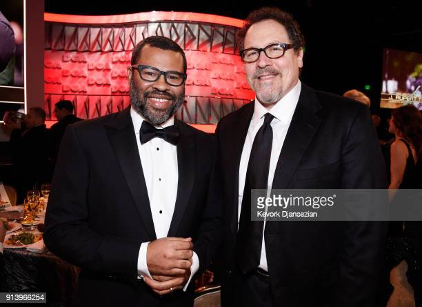 Directors Jordan Peele and Jon Favreau pose during the 70th Annual Directors Guild Of America Awards at The Beverly Hilton Hotel on February 3 2018...