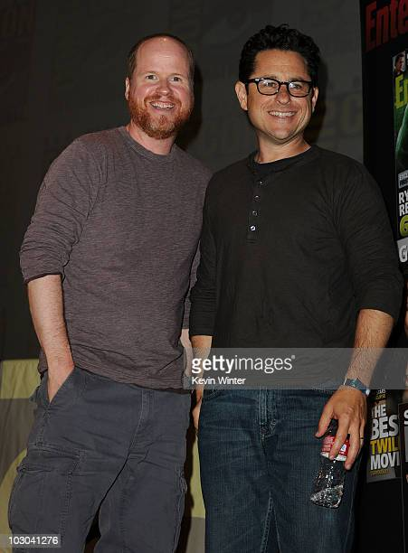 Directors Joss Wheedon and JJ Abrams pose onstage during The Visionaries panel during ComicCon 2010 at San Diego Convention Center on July 22 2010 in...