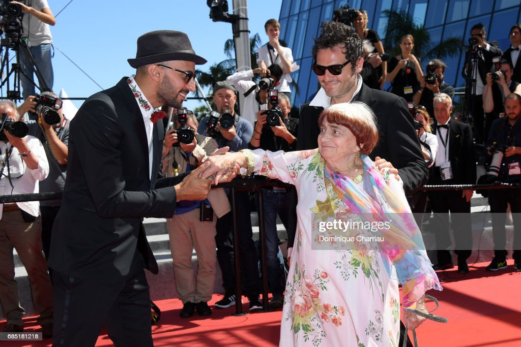 Directors JR, Agnes Varda and composer Matthieu Chedid attend the 'Faces, Places (Visages, Villages)' screening during the 70th annual Cannes Film Festival at Palais des Festivals on May 19, 2017 in Cannes, France.