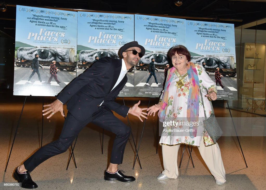 Directors JR and Agnes Varda attend the premiere of Cohen Media Group's 'Faces Places' at the Pacific Design Center on October 11, 2017 in West Hollywood, California.