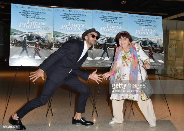 Directors JR and Agnes Varda attend the premiere of Cohen Media Group's 'Faces Places' at the Pacific Design Center on October 11 2017 in West...