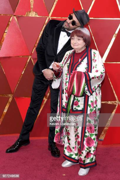 Directors JR and Agnes Varda attends the 90th Annual Academy Awards at Hollywood Highland Center on March 4 2018 in Hollywood California