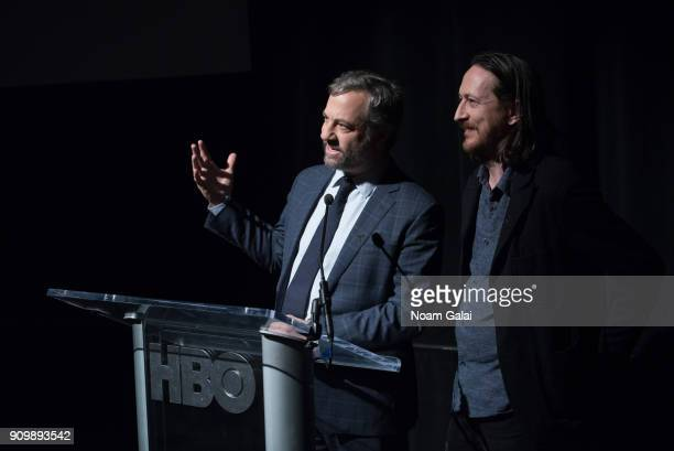 Directors Judd Apatow and Michael Bonfiglio speak during HBO's 'May It Last A Portrait of The Avett Brothers' NYC premiere on January 24 2018 in New...