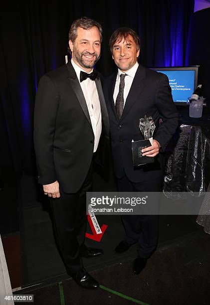 Directors Judd Apatow and Richard Linklater, winner of Best Director for 'Boyhood', pose with award during the 20th annual Critics' Choice Movie...