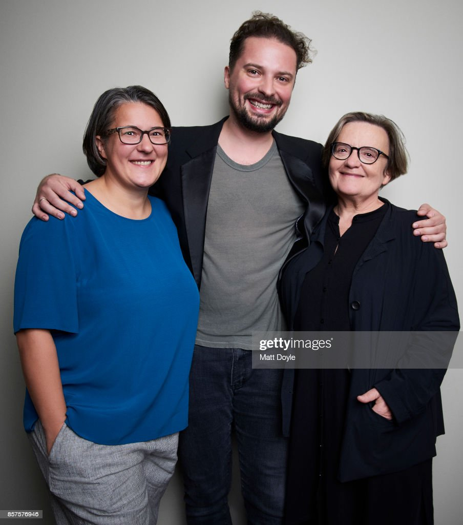 Directors Kasia Adamik, Agnieszka Holland, and composer Antoni Lazarkiewicz from the film 'Spoor' pose for a portrait at the 55th New York Film Festival on October 1, 2017.