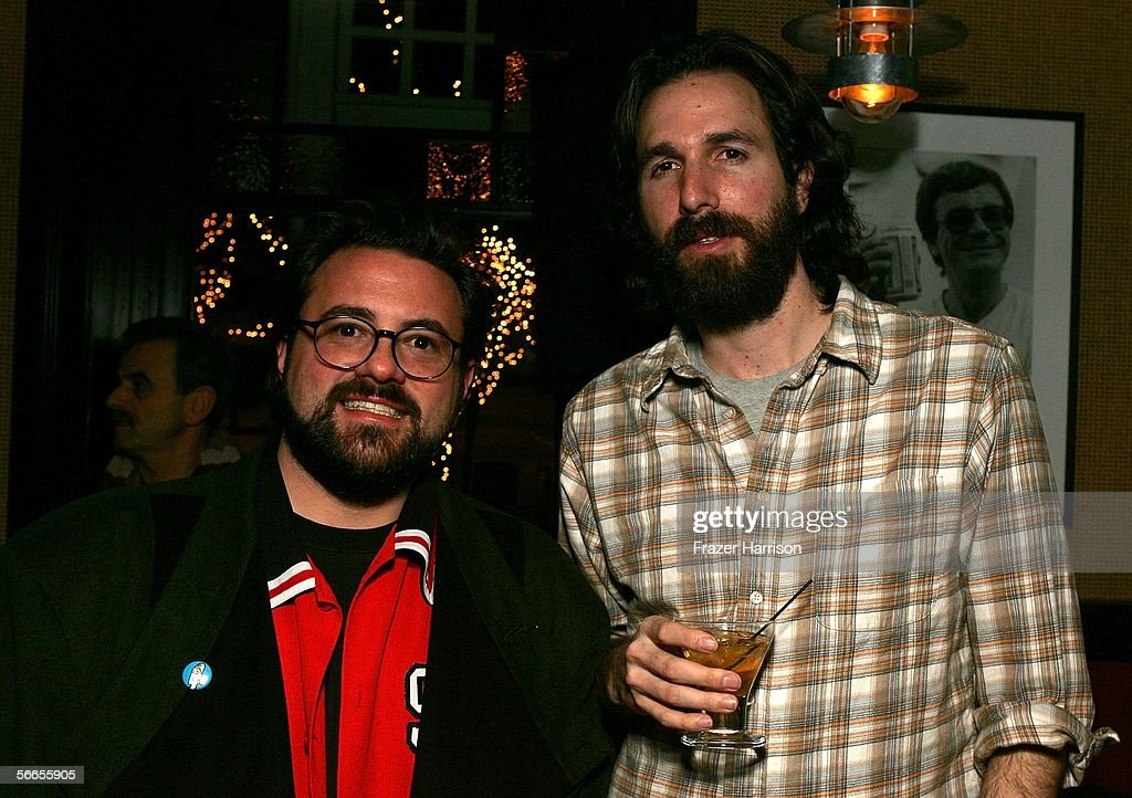Directors Kevin Smith (L) and Dana Adam Shapiro arrive to the Cinetic Media Party at the Sundance Film Festival held at Zoom on January 23, 2006 in Park City, Utah.