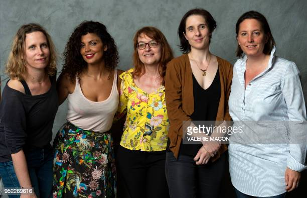 Directors Marie Garel Weiss Nawell Madani Nathalie Mathe Elsa Diringer and COLCOA Deputy Director Anouchka Van Riel pose during the Colcoa French...