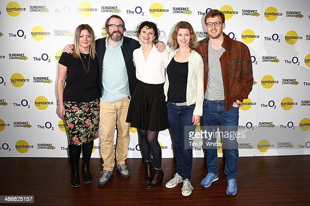 Directors Martin Clark Cara Connolly pose with the cast from 'Exchange Mart' as they attend the Shorts Programme photo call during the Sundance...