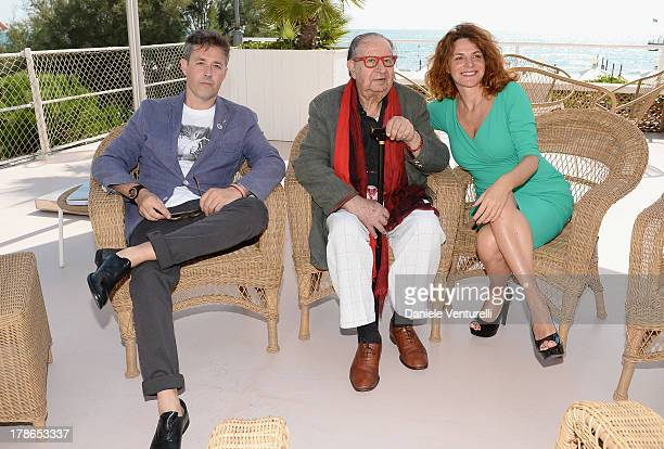 Directors Massimiliano Zanin, Tinto Brass and actress Caterina Varzi are seen during the 70th Venice International Film Festival on August 30, 2013...