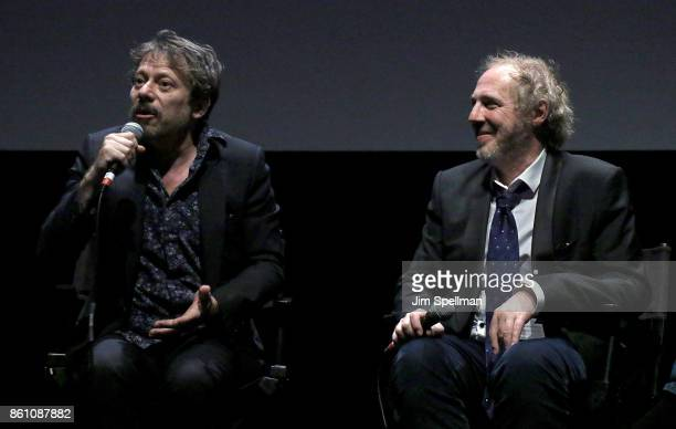 Directors Mathieu Amalric and Arnaud Desplechin attend the 55th New York Film Festival 'Ismael's Ghosts director's cut' at Alice Tully Hall on...