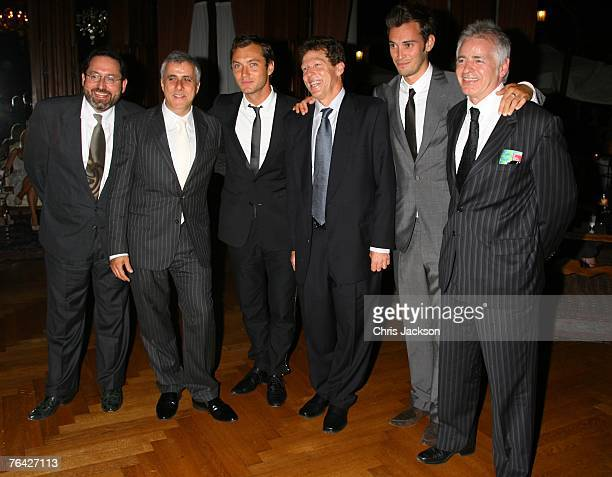 Directors Michael Barker Simon Halfon Actor Jude law Martin Shafer Ben Jackson and Simon Moseley attend the Sleuth after party during Day 2 of the...