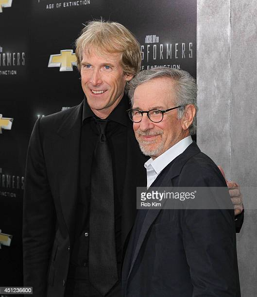Directors Michael Bay and Steven Spielberg attend Transformers Age Of Extinction New York Premiere at Ziegfeld Theater on June 25 2014 in New York...