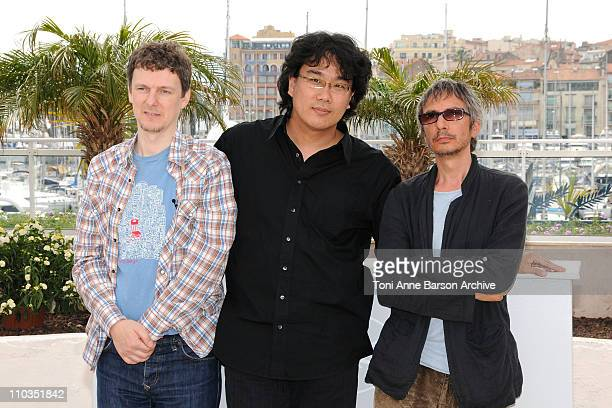Directors Michel Gondry Leox Carax and Bong Joon Ho attend the 'Tokyo' photocall at the Palias des Festivals during the 61st Cannes International...