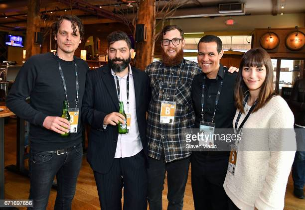 Directors Mikal Hovland Shady Srour Jordan Bond TFF's Ben Thompson and director Alexis Jacknow attend Director's Brunch at 2017 Tribeca Film Festival...
