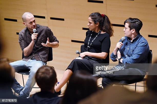 Directors Nadav Lapid Francisca Alegria and Moderator Jude Dry Speak at the 54th New York Film Festival NYFF Live Short Film Panel at Film Center...