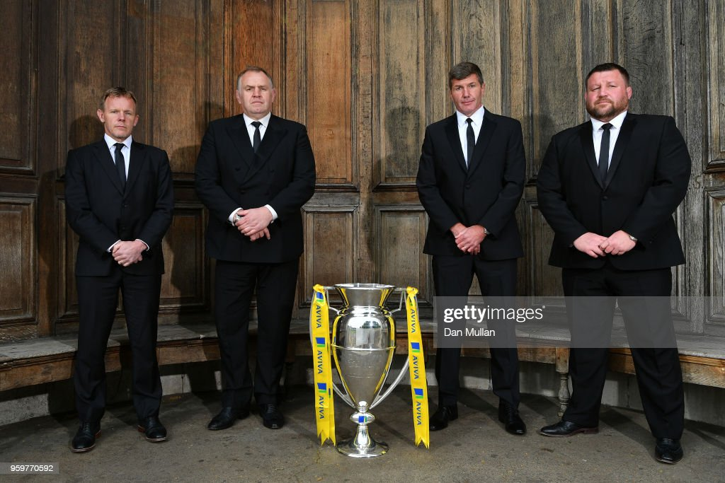 Directors of Rugby of the four clubs in the semi finals of the Aviva Premiership (L-R) Mark McCall of Saracens, Dean Richards of Newcastle Falcons, Rob Baxter of Exeter Chiefs and Dai Young of Wasps pose during the Premiership Rugby Awards 2018 at the Royal Lancaster Hotel on May 16, 2018 in London, England.