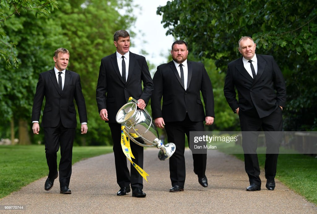 Directors of Rugby of the four clubs in the semi finals of the Aviva Premiership (L-R) Mark McCall of Saracens, Rob Baxter of Exeter Chiefs, Dai Young of Wasps and Dean Richards of Newcastle Falcons pose during the Premiership Rugby Awards 2018 on May 16, 2018 in London, England.