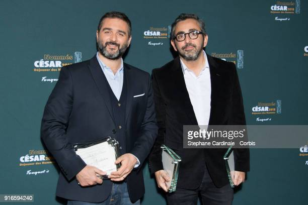 Directors Olivier Nakache and Eric Toledano nominated together for Best Director for the film 'Le Sens de la Fete' attend the Cesar 2018 Nominee...
