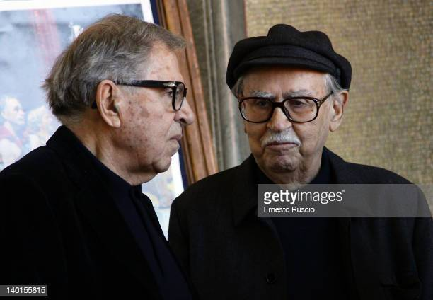 Directors Paolo Taviani and Vittorio Taviani attend the 'Cesare Deve Morire' photocall at Nuovo Sacher on February 29 2012 in Rome Italy