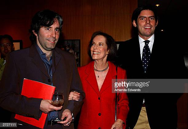 Directors Paul and Chris Weitz pose with their mother actress Susan Kohner at the Jack Oakie Lecture on Comedy in Film featuring Paul and Chris Weitz...