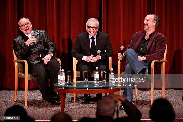 Directors Paul Schrader Martin Scorsese and World Cinema Foundation executive director Kent Jones attends the Martin Scorsese 35th Anniversary 'Taxi...