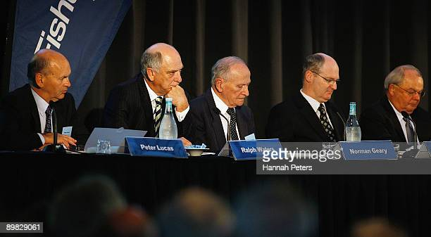 Directors Peter Lucas, Ralph Waters, Norman Geary, CFO Mark Richardson and Chairman Gary Paykel listen to questions as Fisher & Paykel hold their...