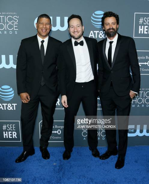 Directors Peter Ramsey Bob Persichetti and Rodney Rothman arrive for the 24th Critics' Choice Awards at Barker Hangar Santa Monica airport on January...