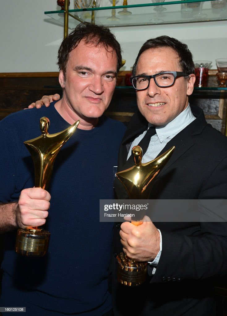 Directors Quentin Tarantino (L) and David O. Russell backstage during the Australian Academy of Cinema and Television Arts' 2nd AACTA International Awards at Soho House on January 26, 2013 in West Hollywood, California.