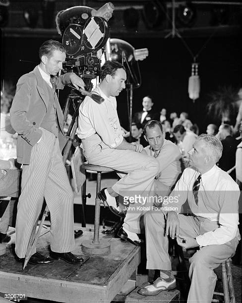 Directors Richard Rosson and Howard Hawks on the set of the gangster film 'Scarface'