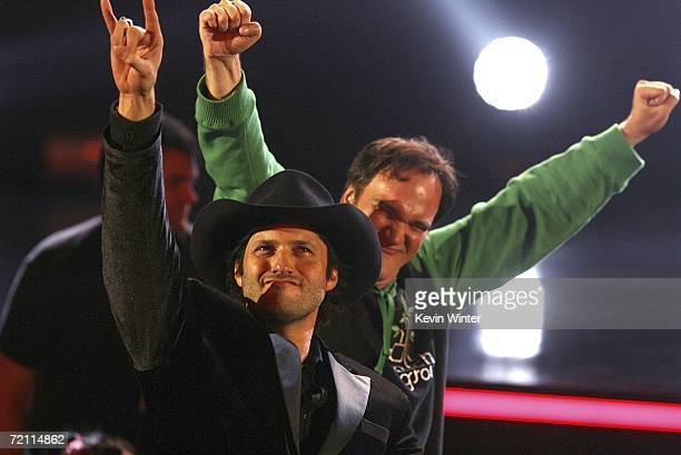 Directors Robert Rodriguez and Quentin Tarantino accept their Mastermind Award onstage during Spike TV's Scream Awards 2006 at the Pantages Theatre...