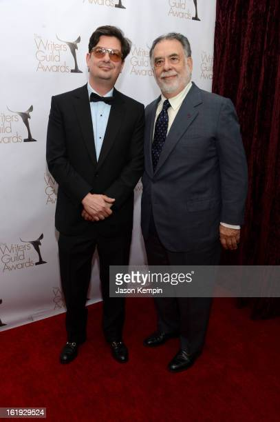 Directors Roman Coppola and Francis Ford Coppola arrive at the 2013 WGAw Writers Guild Awards at JW Marriott Los Angeles at LA LIVE on February 17...
