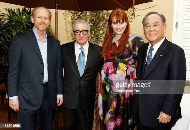 Directors Ron Howard Martin Scorsese Bryce Dallas Howard and Chairman and CEO Canon Inc Fujio Mitarai attend Canon's exclusive unveiling of Cinema...