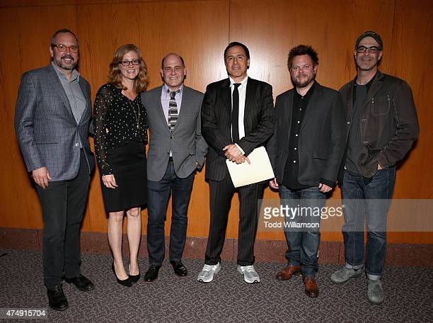 Directors Scott Hornbacher Jennifer Getzinger Matthew Weiner moderator David O Russell directors Michael Uppendahl and Chris Manley attend the 'Mad...
