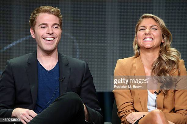 Directors Shane Dawson and Anna Martemucci speak onstage at the The Chair panel during the Starz portion of the 2014 Summer Television Critics...