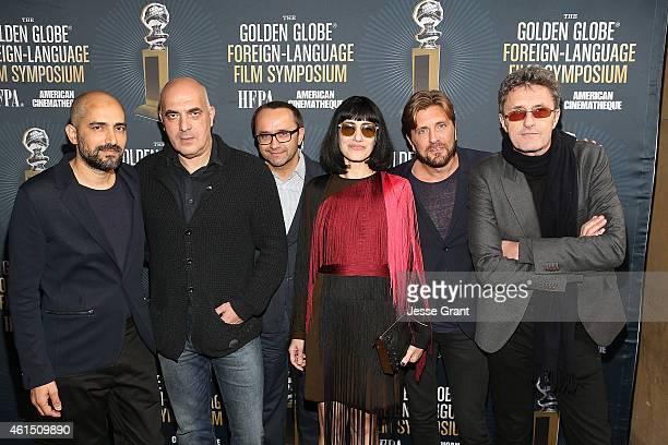 Directors Shlomi Elkabetz Zaza Urushadze Andrey Zvyagintsev Ronit Elkabetz Ruben Ostlund and Pawel Pawlikowski attend the Golden Globe Foreign...