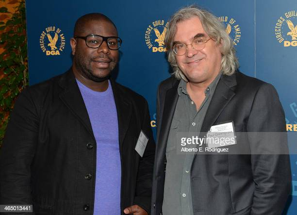 Directors Steve McQueen and Paul Greengrass attend the 66th Annual Directors Guild of America Awards President's Breakfast held at the Directors...
