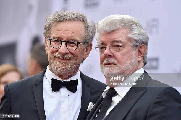 Directors Steven Spielberg and George Lucas arrive at the 44th AFI Life Achievement Awards Gala Tribute to John Williams at Dolby Theatre on June 9...