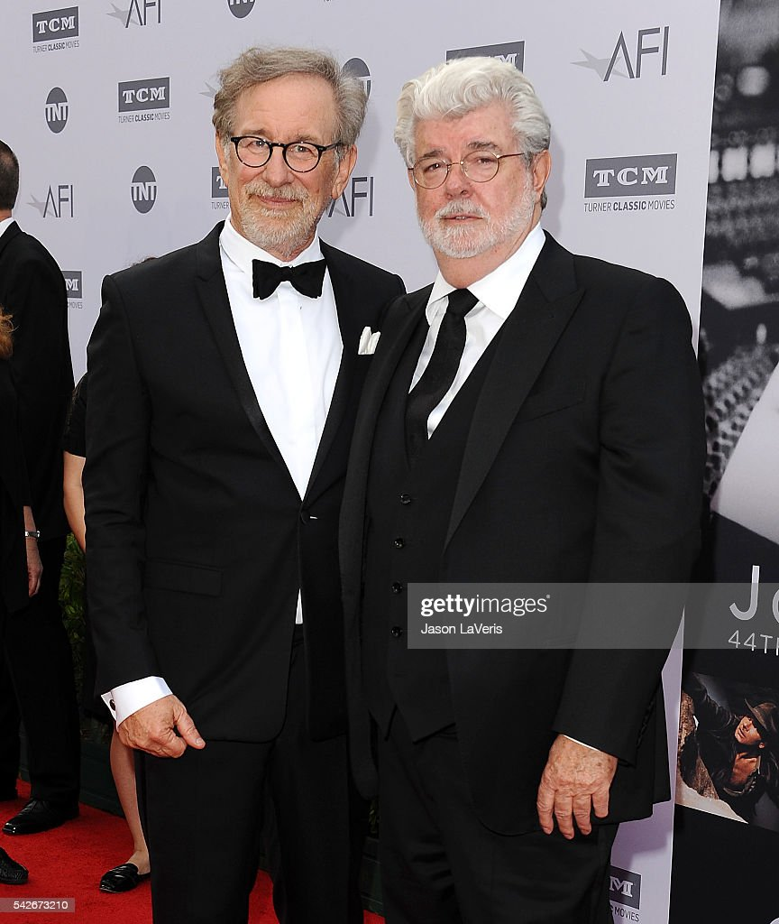 Directors Steven Spielberg and George Lucas attend the 44th AFI Life Achievement Awards gala tribute at Dolby Theatre on June 9, 2016 in Hollywood, California.
