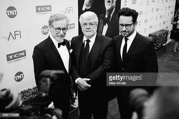 Directors Steven Spielberg George Lucas and JJ Abrams arrive at American Film Institute's 44th Life Achievement Award Gala Tribute to John Williams...