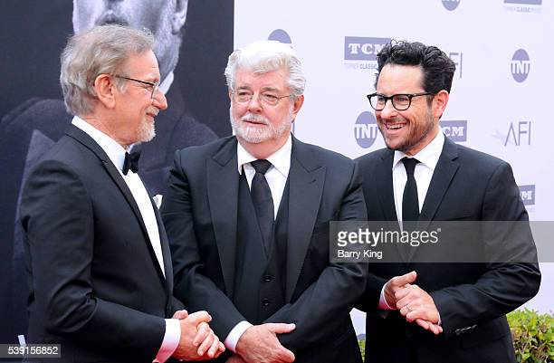 Directors Steven Spielberg George Lucas and JJ Abrams attend American Film Institute's 44th Life Achievement Award Gala Tribute to John Williams at...