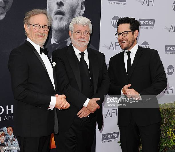 Directors Steven Spielberg George Lucas and JJ Abrams attend the 44th AFI Life Achievement Awards gala tribute at Dolby Theatre on June 9 2016 in...