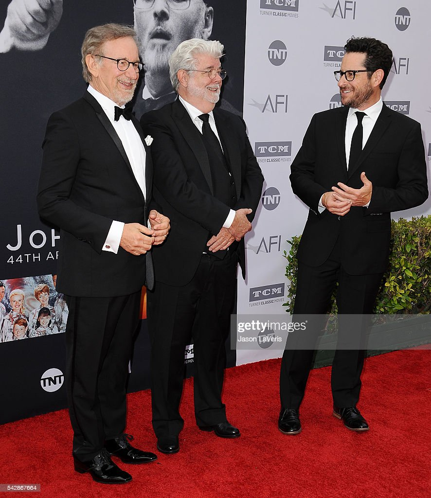 Directors Steven Spielberg and George Lucas attend the