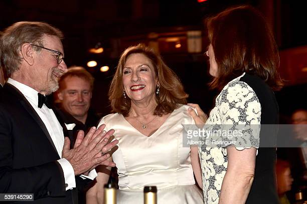 Directors Steven Spielberg Lesli Linka Glatter and producer Kathleen Kennedy pose in the audience during American Film Institute's 44th Life...