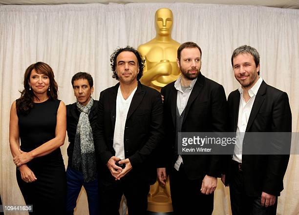 Directors Susanne Bier Rachid Bouchareb Alejandro Inarritu Yorgos Lanthimos and Denis Villeneuve pose at a press conference and photo op for the five...
