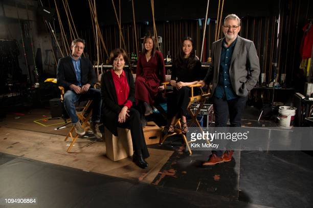 Directors Tim Wardle Betsy West Sandi Tan Elizabeth Chai Vasarheli and Morgan Neville are photographed for Los Angeles Times on December 9 2018 in...