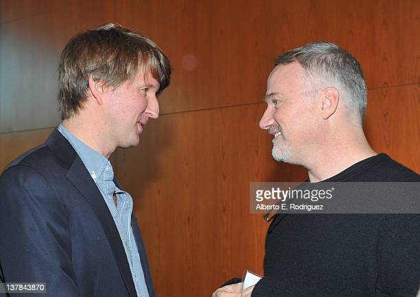 Directors Tom Hooper and David Fincher attend the 64th Annual Directors Guild Of America Awards Meet the Nominees Breakfast held at the DGA on...