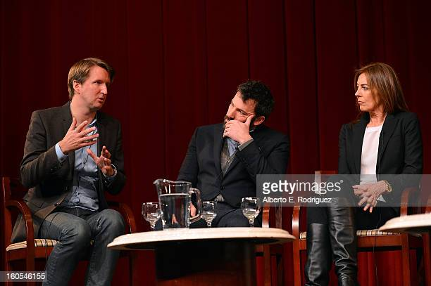 Directors Tom Hooper Ben Affleck and Kathryn Bigelow speak onstage at the 65th Annual Directors Guild of America Awards Feature Film Symposium held...