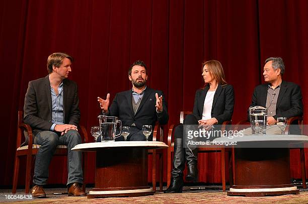 Directors Tom Hooper Ben Affleck Kathryn Bigelow and Ang Lee speak onstage at the 65th Annual Directors Guild of America Awards Feature Film...