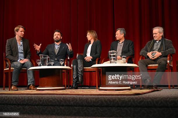 Directors Tom Hooper Ben Affleck Kathryn Bigelow Ang Lee and Steven Spielberg speak onstage at the 65th Annual Directors Guild of America Awards...